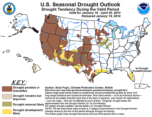 This map released Jan. 16, 2014 shows the U.S. seasonal drought outlook for J...
