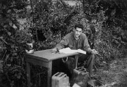 "The only photo during WWII of Salinger writing ""The Catcher in the Rye."""