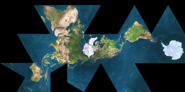 The Dymaxion Map, devised by Buckminster Fuller, is the world flattened onto a 2D plane.