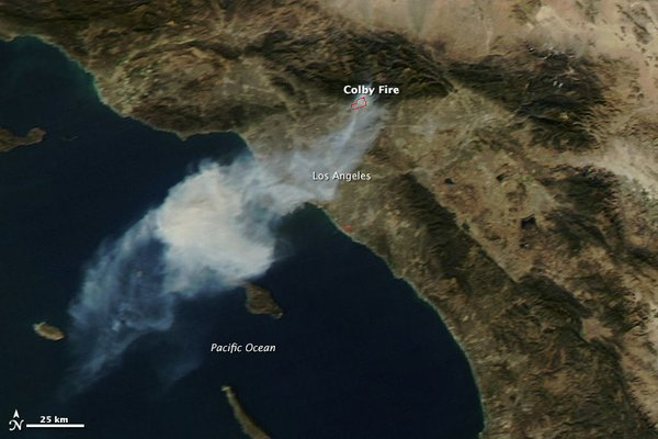 This satellite image shows smoke drifting from the Colby Fire burning in the ...