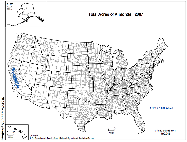 Indicated in blue, this 2007 map shows almond production in the U.S., which i...