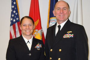 HM1 Monica Reeves with VADM Matthew Nathan