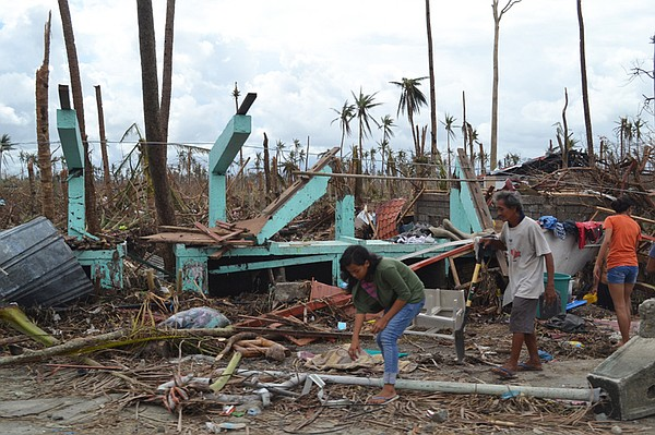 A destroyed house on the outskirts of Tacloban on Leyte island. This region w...