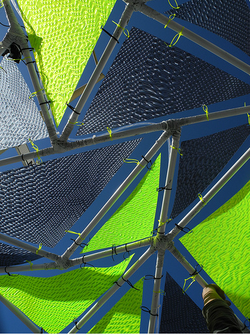 The solar parasols look more like awnings than umbrellas, and the prototypes are designed to be light, colorful, and sturdy.