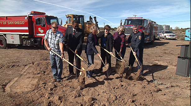 San Diego County Supervisor Dianne Jacob, third from left, was on hand to help fire and local officials break ground for the county-funded project.
