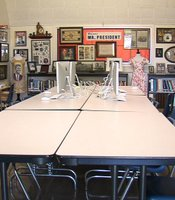 This Clairemont High School room, used for meetings and tutoring sessions, also houses a mini-museum of presidential memorabilia. The collection was amassed by Jim Fletcher and many of his students over the 27 years Fletcher has been at the school.