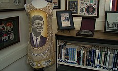 This dress was designed for locals to wear to welcome John F. Kennedy and his wife, Jacqueline, on a trip they were scheduled to make to Africa in 1964. Kennedy was assassinated a few months before the trip was supposed to take place.