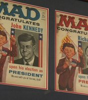 The January 1961 issue MAD Magazine congratulated John F. Kennedy for winning the election on its front cover and congratulated Richard Nixon on the back cover. Half the magazine was Kennedy parody, half Nixon.