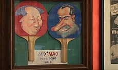 This pong pong paddle set was sold to commemorate the U.S.-China ping pong tournament that helped pave the way for the thawing of relations between the two countries and Richard Nixon's historic visit to Beijing in 1972.