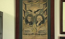 This print from the early 1840s depicts President James K. Polk and Vice President George Dallas. It is the oldest piece on display in the Clairemont High School collection.
