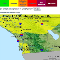 San Diego County pollution map on January 27, 2014 at 7 a.m.