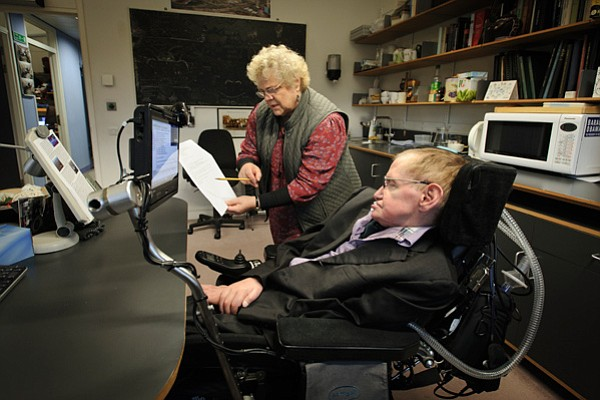 Portrait of Stephen Hawking and his assistant Judith Croasdell in his office ...