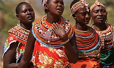 Samburu women singing in Umoja Uaso Village, Kenya, 2000s.