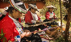 Three generations of weavers from the weaving village of Pitumanca, Peru, 201...