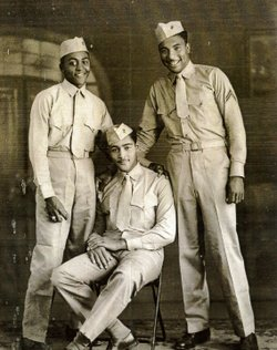Montford Point Marines, circa 1940s. Sergeant Carrel Reavis, with fellow Marines, is seen standing on the right.