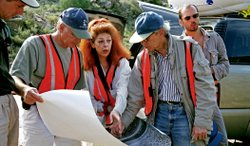 Christo, Jeanne-Claude and their team at work in the Arkansas River valley, Colorado, August 2000