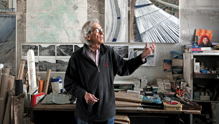 Cursor over the photo to explore Christo's workspace.