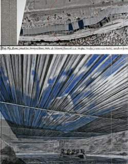 "A Christo collage for ""Over the River (Project for Arkansas River, State of Colorado), completed in 2008. 