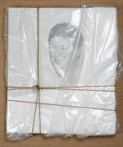 Christo did this portrait of David Copley, who had the largest private collection of Christo's works in the United States.