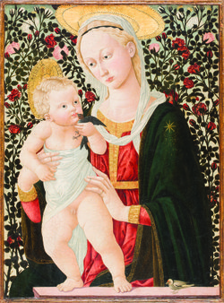 """Madonna of the Roses"" by Pseudo Pier Francesco Fiorentino. ca. 1485-90. Tempera on panel, Gift of the Armand Hammer Foundation, 1973"
