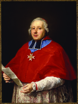 """Cardinal Etienne-René Potier de Gesvres,"" by Pompeo Girolamo Batoni. 1758. Oil on Canvas. Museum Purchase 1983."