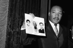 Martin Luther King, Jr. holding missing picture.