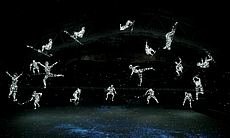 Images representing the Olympic Gods are projected inside Fisht Stadium just ...