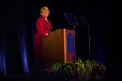 CSU San Marcos President Karen Haynes, delivering 10th Annual Report to the C...