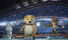 The 2014 Sochi Winter Olympics official mascots, the Leopard, the Polar Bear,...