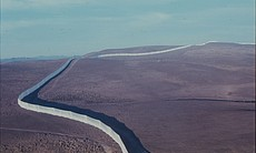 "An aerial view of Christo and Jeanne-Claude's ""Running Fence"" installed in northern California in 1976."
