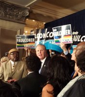 San Diego mayoral candidate Kevin Faulconer speaks at his Election Night party at the US Grant in downtown San Diego.