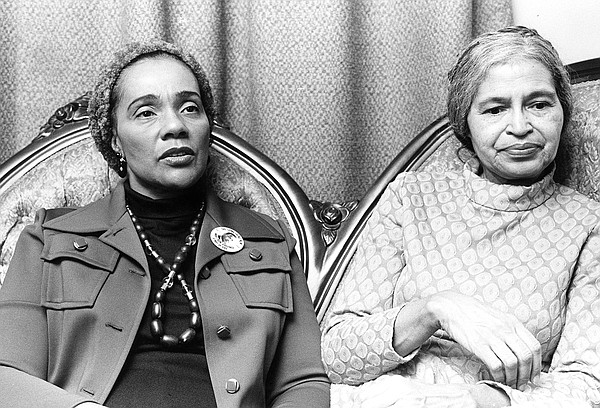 Coretta Scott King and civil rights activist Rosa Parks.