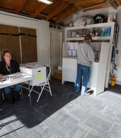 From left, Michele Folk and Amanda Patmon work at San Carlos polling place, 6302 Lake Athabaska Place,  Feb. 11, 2014.