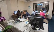 Election night phone banking at David Alvarez Headquarters, February 11, 2014.