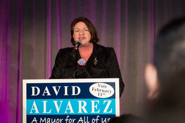 California State Assembly Member Toni Atkins at election night party for mayoral candidate David Alvarez at Public Market, 1735 National Ave., February 11, 2014.