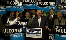Former San Diego Mayor Jerry Sanders speaks at Kevin Faulconer's election party.