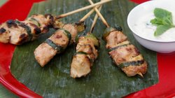 Chef Su-Mei's Grilled Honey and Mustard Marinated Chicken Skewers with Yogurt...