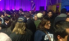 A large and diverse crowd showed up in Barrio Logan for David Alvarez's campaign night party for San Diego mayor race.