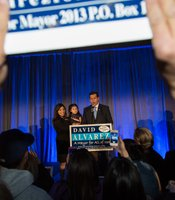Mayoral candidate David Alvarez and family at election night party at Public Market, 1735 National Ave., February 11, 2014.