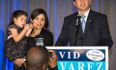 Mayoral candidate David Alvarez addresses the crowd next to his wife, Xochitl, and daughter, Izel, at an election night party on Feb. 11, 2014.