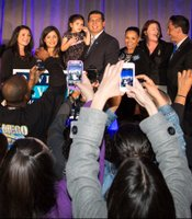 Mayoral candidate David Alvarez and family, and local Democratic leaders at election night party at Public Market, 1735 National Ave., February 11, 2014.