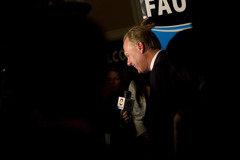 Kevin Faulconer talks to local media election night.