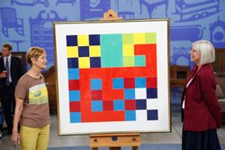 Colleene Fesko (right) appraises a Peter Halley gouache on paper for $10,000 ...