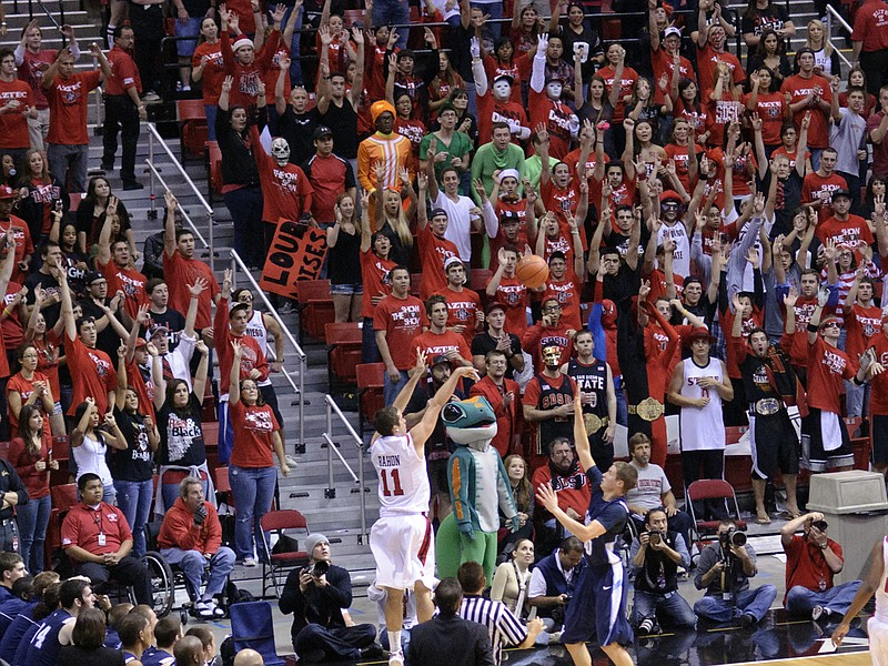 The San Diego State basketball plays in front of
