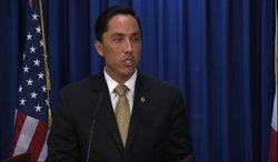 San Diego interim Mayor Todd Gloria speaks to the media at his weekly news co...