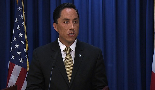 San Diego interim Mayor Todd Gloria speaks to the media a...
