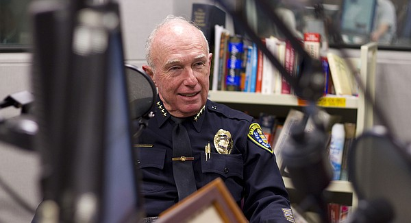 San Diego Police Chief William Lansdowne speaks with KPBS staff before going ...