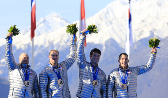 Team USA four-man bobsled wins bronze at Sochi Olympics.