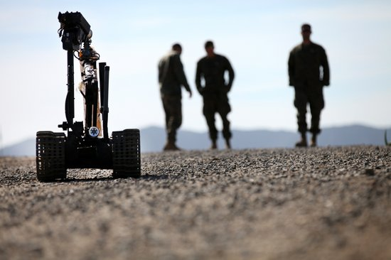Marines with 1st Explosive Ordnance Disposal Company, 7th Engineer Support Battalion, observe the TALON Mark II robot during pre-deployment training aboard Camp Pendleton, Feb, 18, 2014.