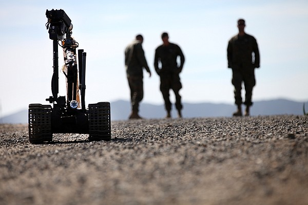 Marines with 1st Explosive Ordnance Disposal Company, 7th Engineer Support Ba...